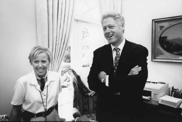 2.-Laura-and-President-Clinton-joking-with-staff-in-the-outer-office-of-the-Oval-Office