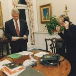 21. Laura records a radio address for the President