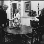 7. Laura briefing the President prior to filming a cameo for the CBS Movie A Childs Wish
