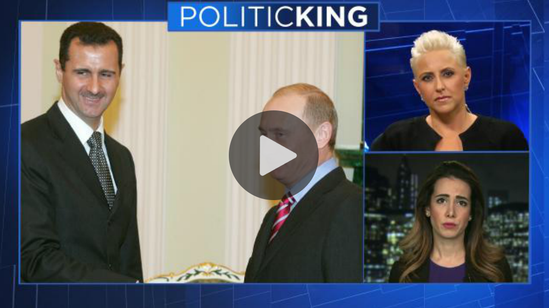 "Television commentator Laura Schwartz leads discussion on US airstrike with foreign policy and military experts during episode of ""PoiticKING."""