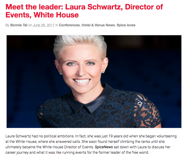 Professional Speaker and White House Director of Events for President Clinton, Laura Schwartz interviewed by Australia's Spice News.