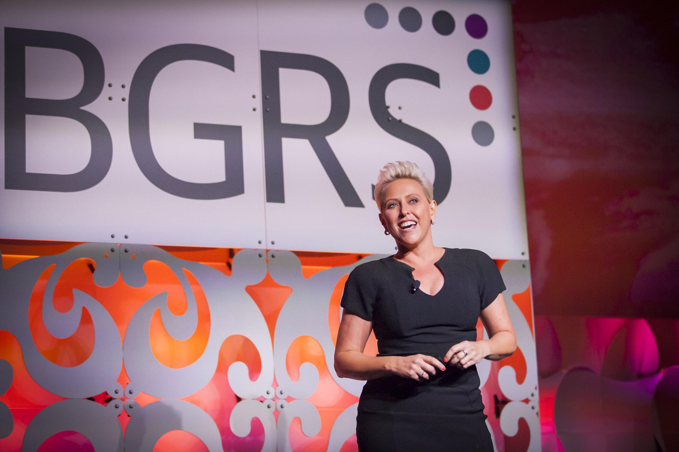 Motivational speaker Laura Schwartz keynoting at BGRS International Forum.